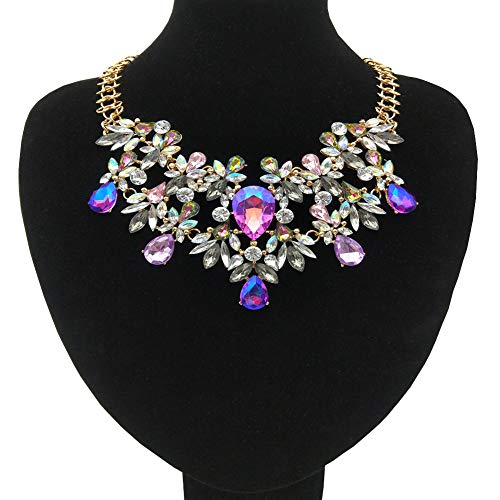 NABROJ Women Statement Necklace Purple, Fashion Necklace for Women Novelty Costume Jewelry 1 PC with Gift Box-RC04 Purple
