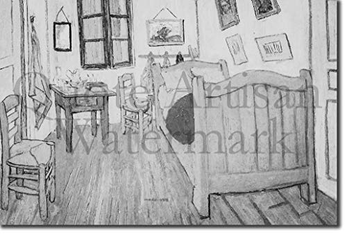 Introspective Chameleon (B&W) Van Gogh - Bedroom in Arles (1888) - Reproduction of a Beautiful Vincent Van Gogh Painting - Photo Poster Print Art Gift - Size: 24 X 16 Inches (38 x 25 cm) (Vincent Van Gogh Bedroom In Arles 1888)