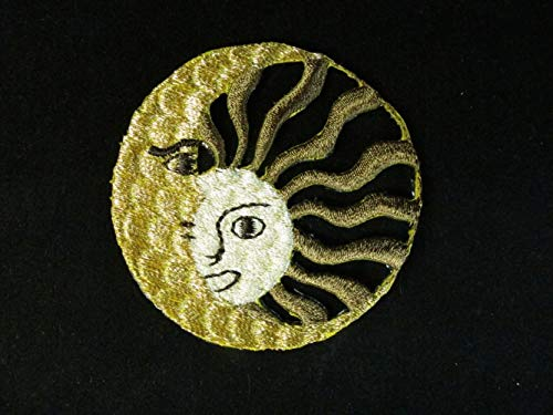 (Spk Art Gold Brown Astrology Sun Moon Embroidery Applique Patch, Sew on Patches Badge DIY Craft)