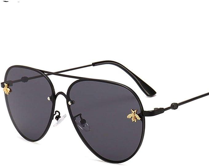 Lunettes de Soleil de Pilote Cadre en Métal Noir Hommes Femmes Rétro Vintage UV 400