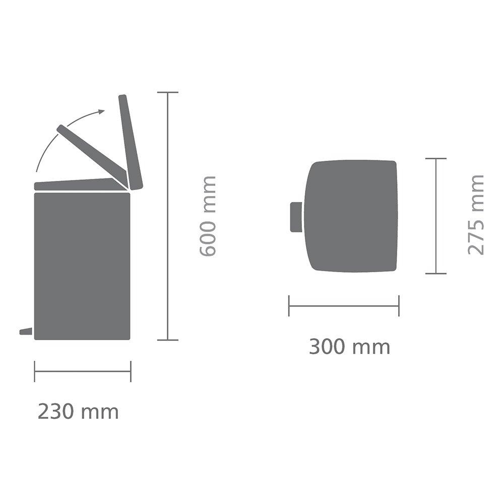 Brabantia Rectangular Pedal Bin, 10 L - Brilliant Steel 395628 Brabantia Pedal Bin Kitchen_Waste_Bins brabantia bin