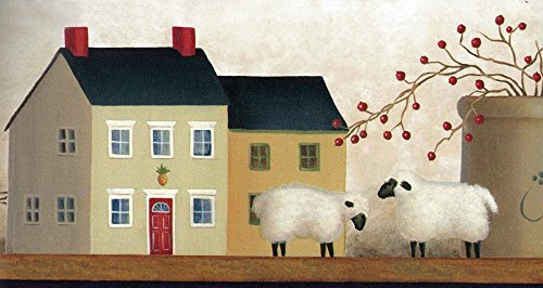 (Chesapeake AA108141B American Folk Art Shaker Village on Shelf Wallpaper)