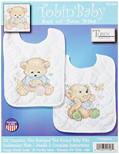Tobin Baby Bears Bib Pair Stamped Cross Stitch Kit, 8 by ...