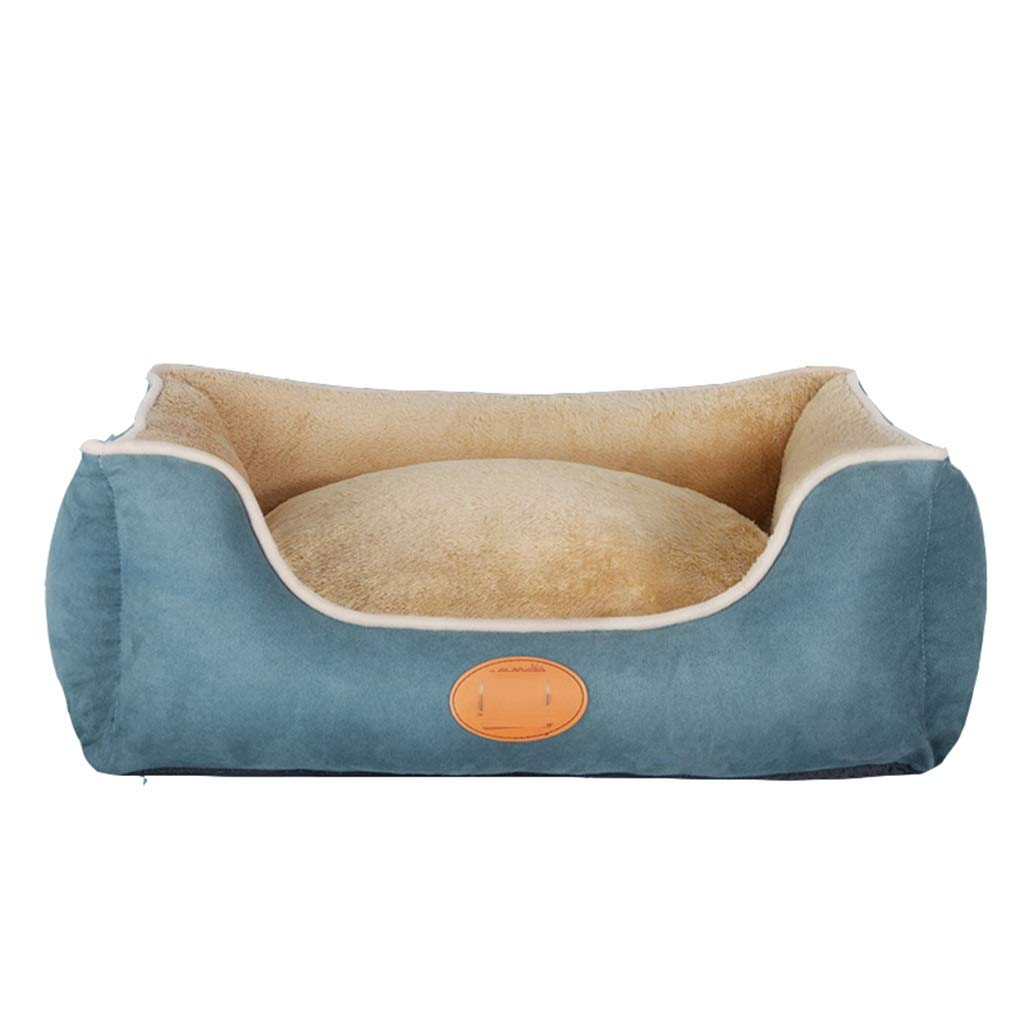 55x50x20cm Warm Washable Dog Bed, Removable Cover, Cuddly Dog Sofa, bluee, 90x75x24cm Comfortable (Size   55x50x20cm)