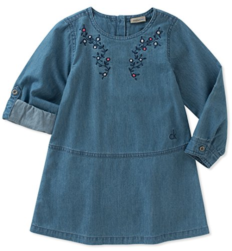 Calvin Klein Baby Girls Denim Dress, Medium Wash Blue, 12M - Wash Polyester Dress
