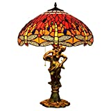 AIBOTY Tiffany Style Desk Lamp 18 Inch Red Dragonfly Table Lamps for Living Room Bedroom Desk Restaurant Clubhouse Hotel Bedside Light 45CM Zipper Lamp
