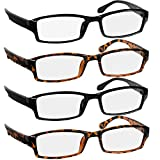 Reading Glasses 2.0 2 Black & 2 Tortoise Fashion Readers for Men & Women - Spring Arms & Dura-Tight Screws Have a Stylish Look and Crystal Clear Vision When You Need It!