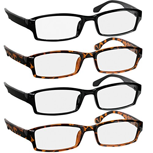 Reading Glasses 1.0 2 Black & 2 Tortoise Fashion Readers for Men & Women - Spring Arms & Dura-Tight Screws Have a Stylish Look and Crystal Clear Vision When You ()