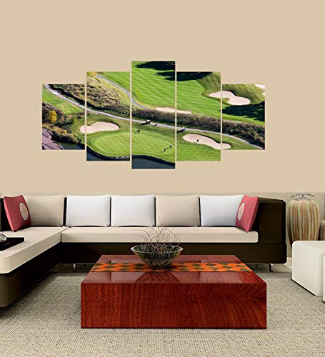 lagifi Premium Quality Canvas Printed Wall Art Poster 5 Pieces / 5 Panel, Montreal South-Shore Golf Course, Home Decor Painting - with Wooden Frame Frame