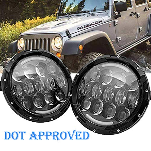 SUP-LIGHT 2 PCS 105W Osram 7 Inch Round LED Headlight with White/amber Turn Signal DRL for Jeep Wrangler Jk Tj Harley ()