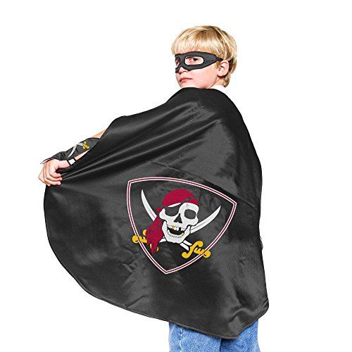 Black Pirate Superhero Cape - With matching eye mask and powerbands