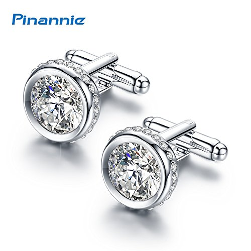 Pinannie White Austria Crystal Shirt Cuff Links White Gold Plated Wedding Cufflinks for Mens by Pinannie