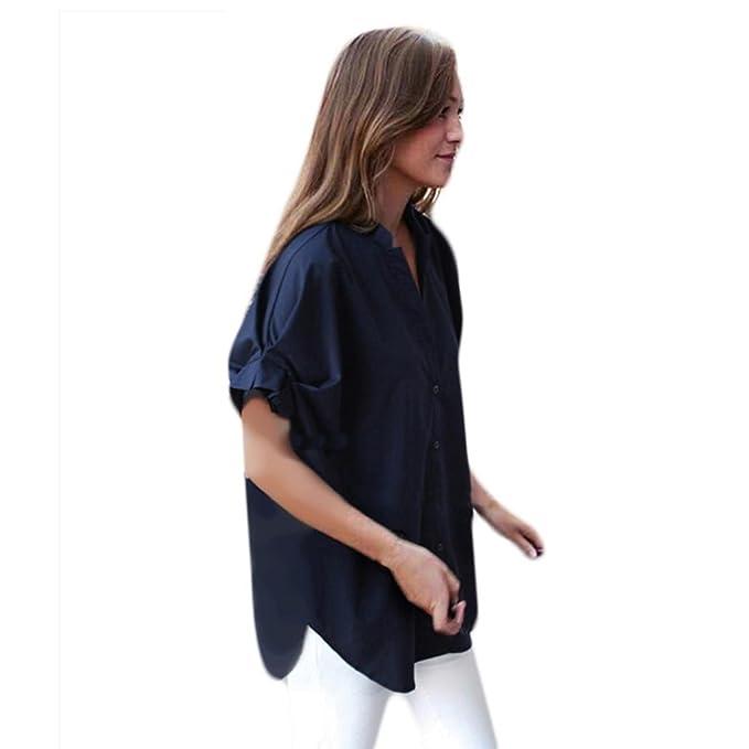 Ularma Mujeres Más El Tamaño De Las Blusas Casuales Sueltas Cuello Tops Camiseta De Verano