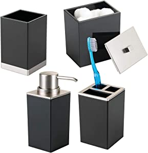 mDesign Plastic Bathroom Vanity Countertop Accessory Set - Includes Soap Dispenser Pump, Divided Toothbrush Holder, Tumbler Rinsing Cup, Storage Canister - 4 Pieces - Black/Brushed