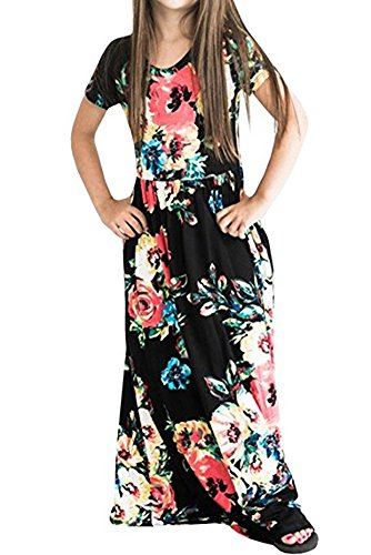 Girls Floral Printed Short Sleeve Empire Waist Maxi Long Pockets Dress in 4 Colors,10 Years Black (Black Sleeve Empire In Dress Short)