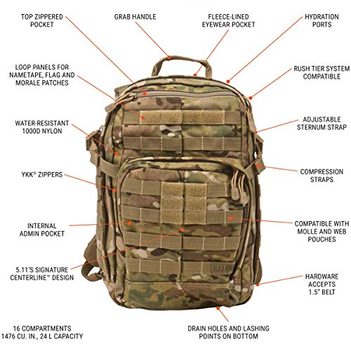 5.11 RUSH12 Tactical Backpack, Small, Style 56892, MultiCam