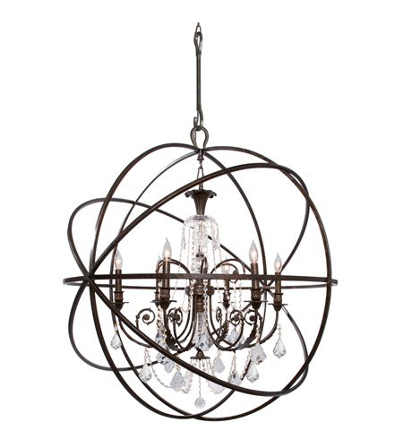 - Chandeliers 6 Light with English Bronze Clear Swarovski Strass Clear Crystal Wrought Iron 40 inch 360 Watts - World of Lighting