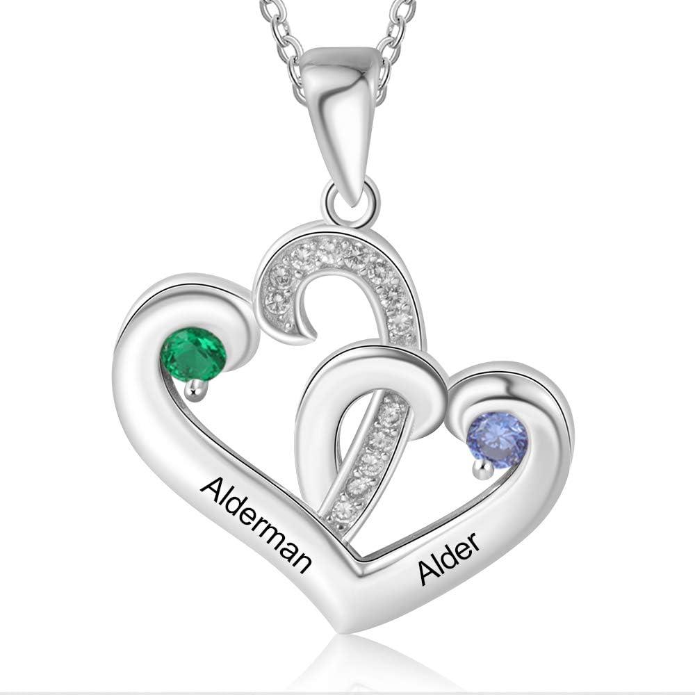 Collar Personalizado con 2 Nombres de Plata 925 Grabado Corazón Colgante Madre Hija Collar Regalo para el Día de la Madre San Valentín