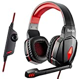 [2015 New] iKross S4000 Gaming Headphone Headset with Microphone, In-Line Volume Control, LED Lights for PC Computer Gamers - Black / Red