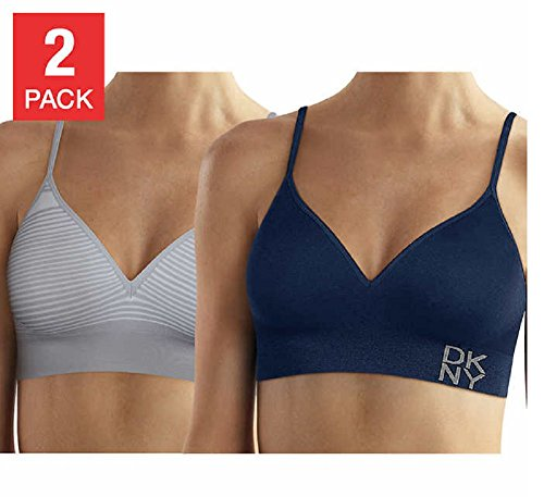 DKNY Women's Energy Seamless Bralette Everyday Comfort - 2 Pack (Small, Blue- Pinstripe Grey) (Bra Stretch Pinstripe)