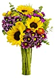 The finest handpicked field-grown flowers are what make up our popular Flowering Fields bouquet - bold sunflowers framed by some of the most unique colors and textures. Surround yourself or someone you care about with the best Mother Nature c...