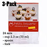 Petits Desserts 72-Piece Set of 24 Dessert Cups 70ml, 24 Dessert Spoons, and 24 Forks Clear Color (3-Pack)