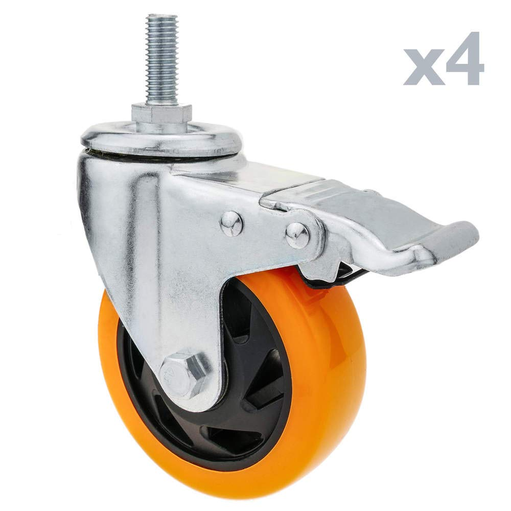PrimeMatik - Rotelle pivotanti Ruote Industriale di Poliuretano Com Freno 100 mm M12 4-Pack PrimeMatik.com