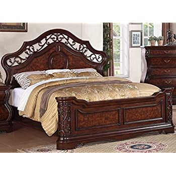 roundhill furniture tuscany modern wood bed queen cherry