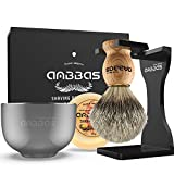 Shaving Set, Anbbas 4IN1 Pure Badger Hair Shaving Brush Solid Manchurian Ash Wood Handle,Black Broken-Resistant Acrylic Shaving Stand,Stainless Steel Shaving Bowl Dia 3.2' and Goat Milk Soap 100g