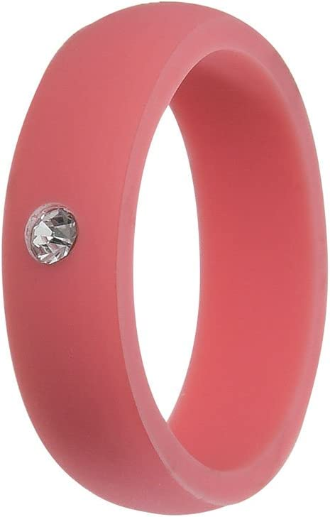 5.7mm Wide Simpleonly Women Silicone Wedding Band with Rhinestone