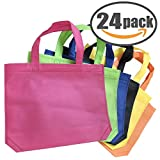 Tote Party Favor Bag 24 Pack Tote Gift Bags with Handles 10 x 13 INCH Non-woven Treat Bag Reusable Goody Bags in Assorted Colors
