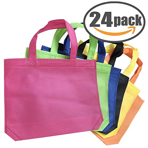 Tote Party Favor Bag 24 Pack Tote Gift Bags with Handles 10 x 13 INCH Non-woven Treat Bag Reusable Goody Bags in Assorted Colors by NOBBEE