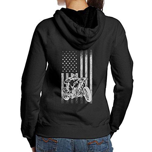 American Motorcycle US Flag Fun Biker Women's Long Sleeve Casual Pullover Hoodies Sweatshirts Girl Hoodies (Biker Kids Sweatshirt)