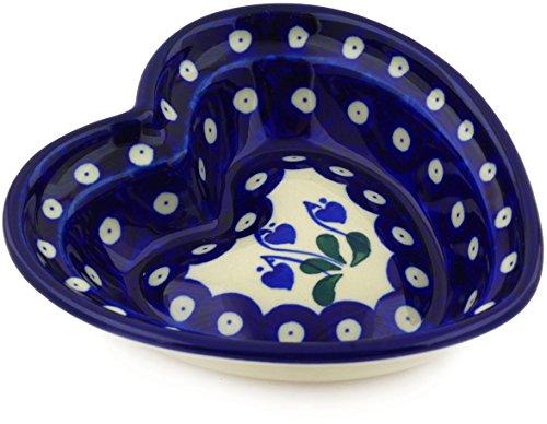 - Polish Pottery Heart Shaped Bowl 6-inch made by Ceramika Artystyczna (Bleeding Heart Peacock Theme)