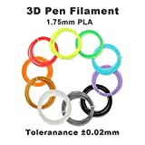 3D Pen,3D Drawing Printing Pen Kit with 2 Bonus(10Meter) PLA 1.75mm Filament Refills,for Crafting, DIY&Design,Non-Clogging Patented Nozzle,Black(X'Mas Package) (Pen Filament-10 Color)