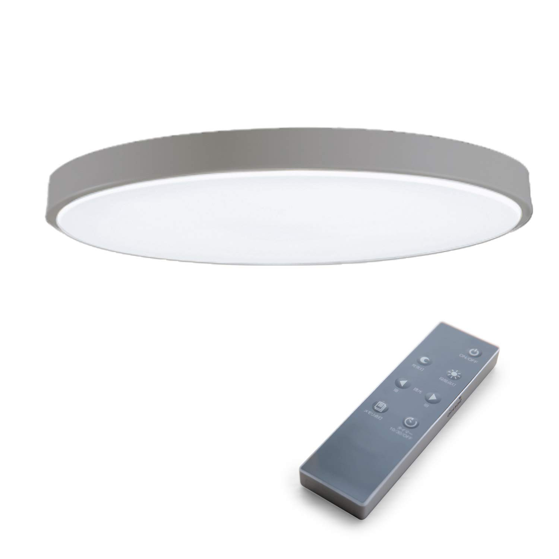 LOWYA (ロウヤ) 照明 LEDシーリングライト 10段階 調光機能 オフタイマー メモリ機能 スリムタイプ 厚み6.9cm 天井照明 6畳 新生活 ホワイト+グレー 【6畳用】 ホワイト/グレー B07KWRZ6KH