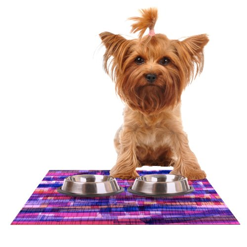 Kess InHouse Frederic Levy-Hadida Squares Traffic Pink  Feeding Mat for Pet Bowl, 18 by 13-Inch