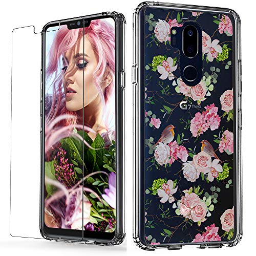 LG G7 Case/LG G7 ThinQ Case with Tempered Glass Screen Protector,UPSTONE Clear Case with Floral Cute Robin Birds Pattern Design Soft TPU Bumper Acrylic Back Cover Protective for LG G7/G7 ()