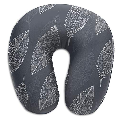 FANTASY SPACE Compact Neck Pillow Feathers Leaves Design Large Travel Pillow Neck Support Sleeping Rest Cushion, Breathable & Comfortable, Car Restful Sleep Bus Neck Pillow