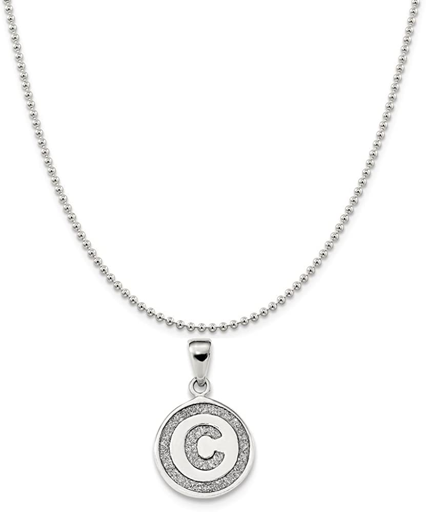 Snake or Ball Chain Necklace Sterling Silver Initial C Pendant on a Sterling Silver Cable