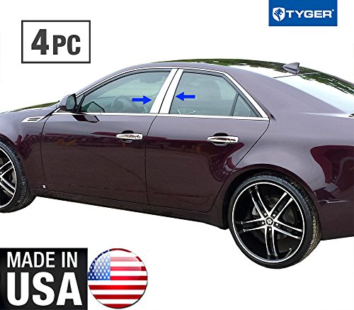 Made in USA! Works with 2014-2015 Cadillac CTS 4PC Stainless Steel Chrome Pillar Post Trim ()