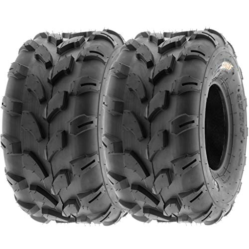 SunF 20x10-8 20x10x8 ATV UTV All Terrain Trail Replacement 6 PR Tubeless Tires A003, [Set of 2] (Best Atv Tires For Trail Riding)