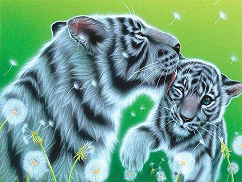 New 5D Diamond Painting Kits for Adults Kids, Awesocrafts White Tiger Mother Child, Dandelion Partial Drill DIY Diamond Art Embroidery Paint by Numbers with Diamonds (White Tiger)