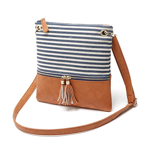 Medium Women's Blue Bag Canvas Crossbody Size Shoulder Suchelle 5PqSaOS
