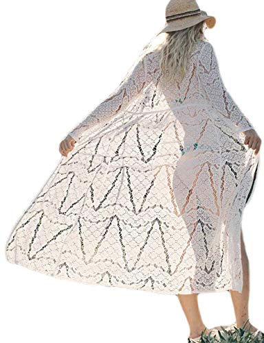 Crocheted Duster - Sexy Lace Crochet Open Front Swimsuit Beach Long maxi Kimono Cover Ups white cardigan (one size, LF-003)