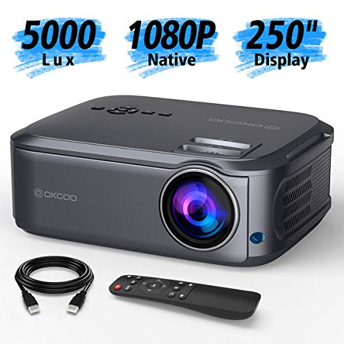 OKCOO Native 1080P Full HD Video Projector, 250″ Display 5000Lux LCD Projector for Home & Business Presentation, Compatible with PC, Laptop, Tablet, TV Box, PS 3/4, HDMI, VGA, USB, DVD, Gray