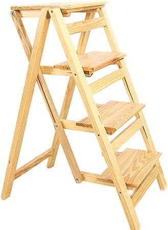Taburete de 4 peldaños Escalera Escalera de mano Escalera plegable Productos multifunción de madera maciza Soporte de flores para el hogar Estante para zapatos Taburete Escalera de escalera: Amazon.es: Hogar