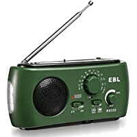 EBL Emergency Solar Crank AM FM Camp Radio with LED Flashlight, USB Output Port, Reading Lamp
