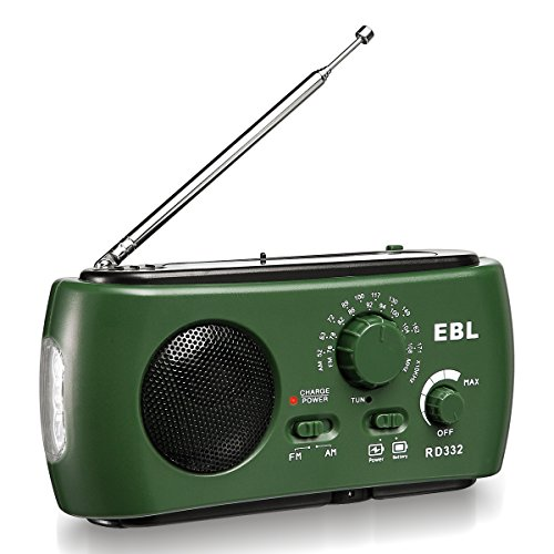 Price comparison product image EBL Emergency Solar Crank AM FM Camp Radio with LED Flashlight,  USB Output Port,  Reading Lamp