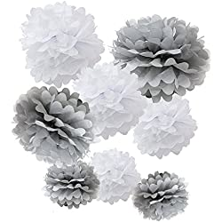 "WYZworks Set of 8 (Assorted White/Grey Pack) 8"" 10"" 12"" Tissue Pom Poms Flower Party Decorations for Weddings, Birthday, Bridal, Baby Showers Nursery Décor"